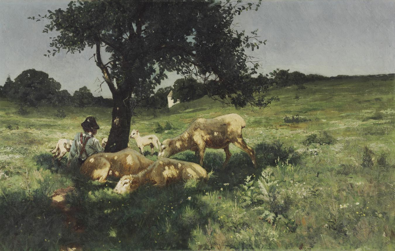 Boy and Sheep Under a Tree , 1881.