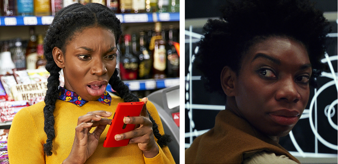 Michaela Coel in  Chewing Gum  (left), and  Star Wars: The Last Jedi  (right).