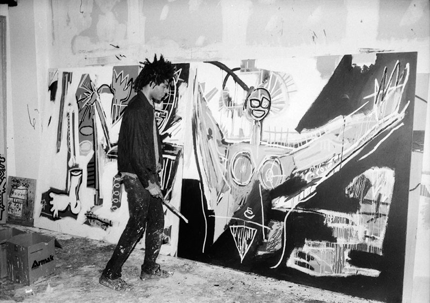 Jean-Michel Basquiat in his studio.