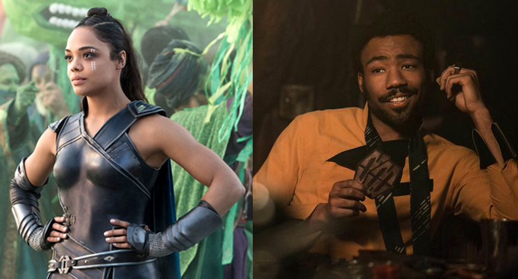 Tessa Thompson as Valkyrie in  Thor: Ragnarok  (left), Donald Glover as Lando in  Solo  (right).
