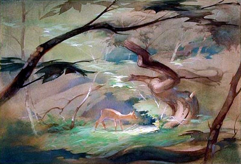 Tyrus Wong's concept art for  Bambi  (1942).