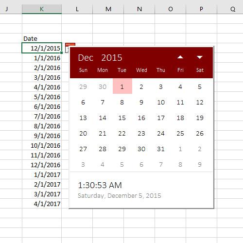 Excel Date Picker — Sam Radakovitz