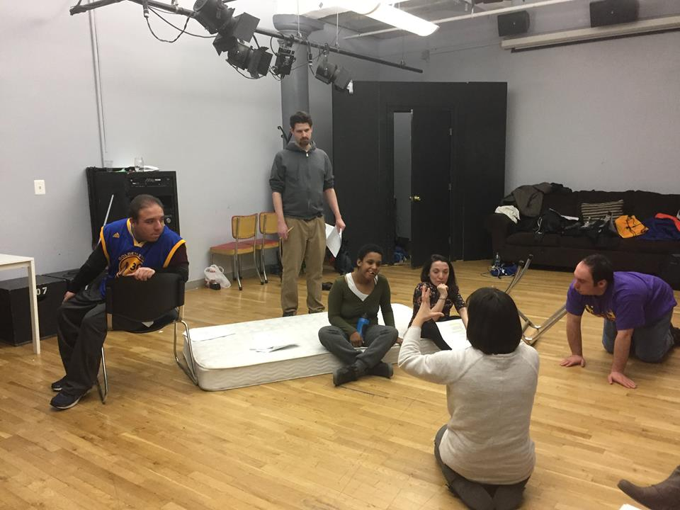 """Rehearsal for """"Spirits of Another Sort,"""" an adaptation of """"A Midsummer Night's Dream"""" featuring an integrated cast of physically disabled, non-disabled and intellectually disabled actors performed at Queens Theater in 2017"""