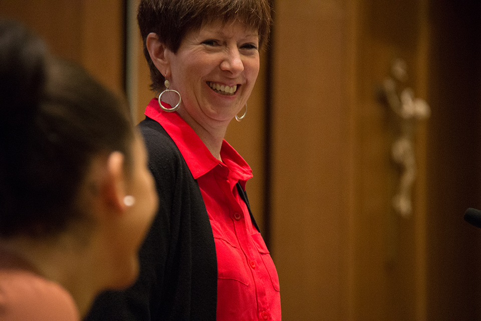 Coach Muffet McGraw, taken October 2013.