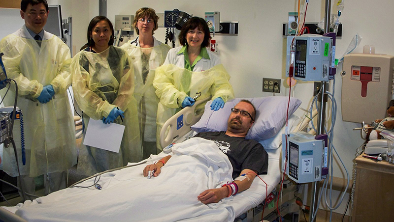 Jonathon receiving new stem cells, May 19th, 2009.