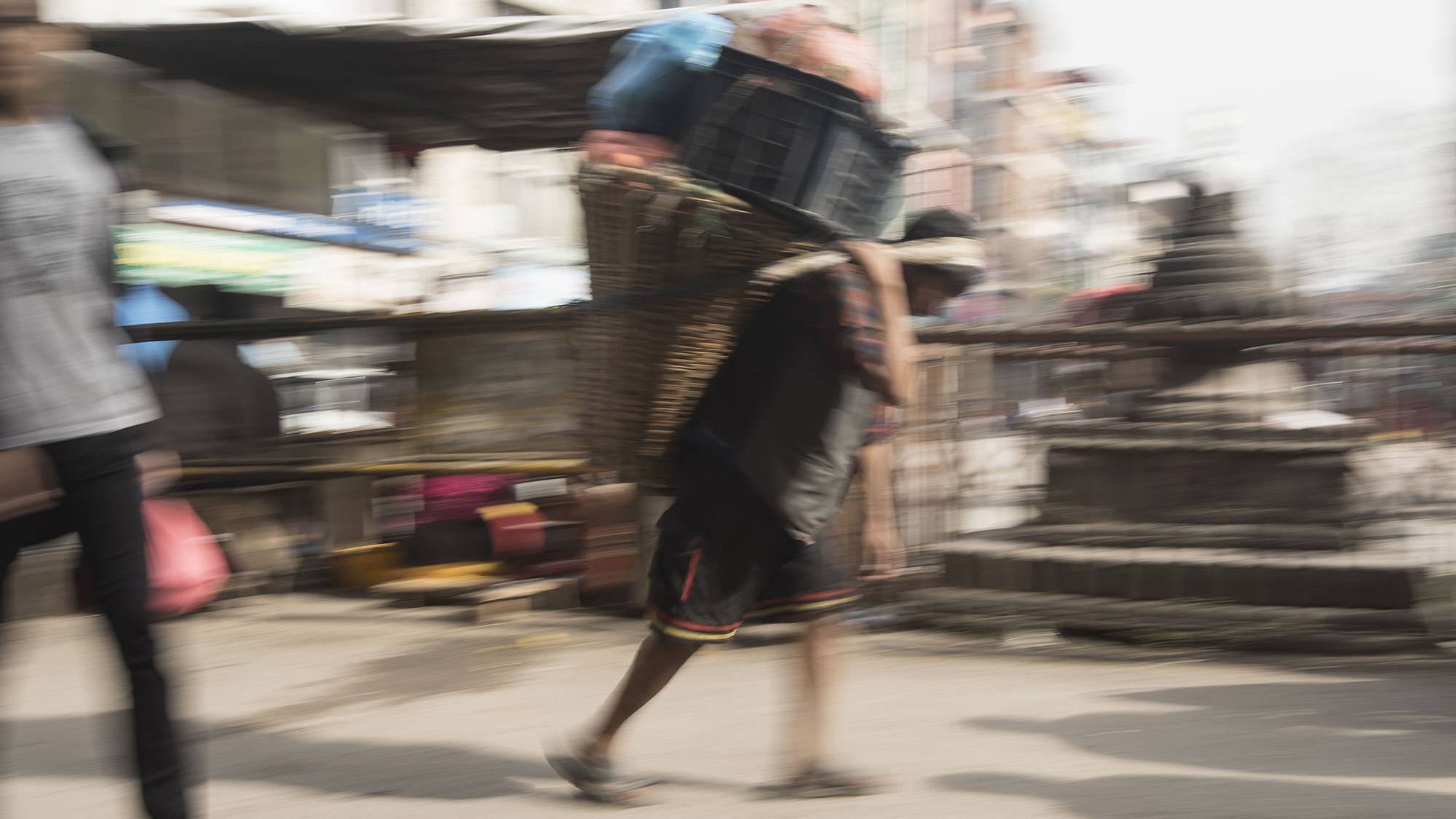 Manual labor is still frequent.  The transportation of goods within the small streets of Kathmandu is primarily done on the backs of locals or with small carts.
