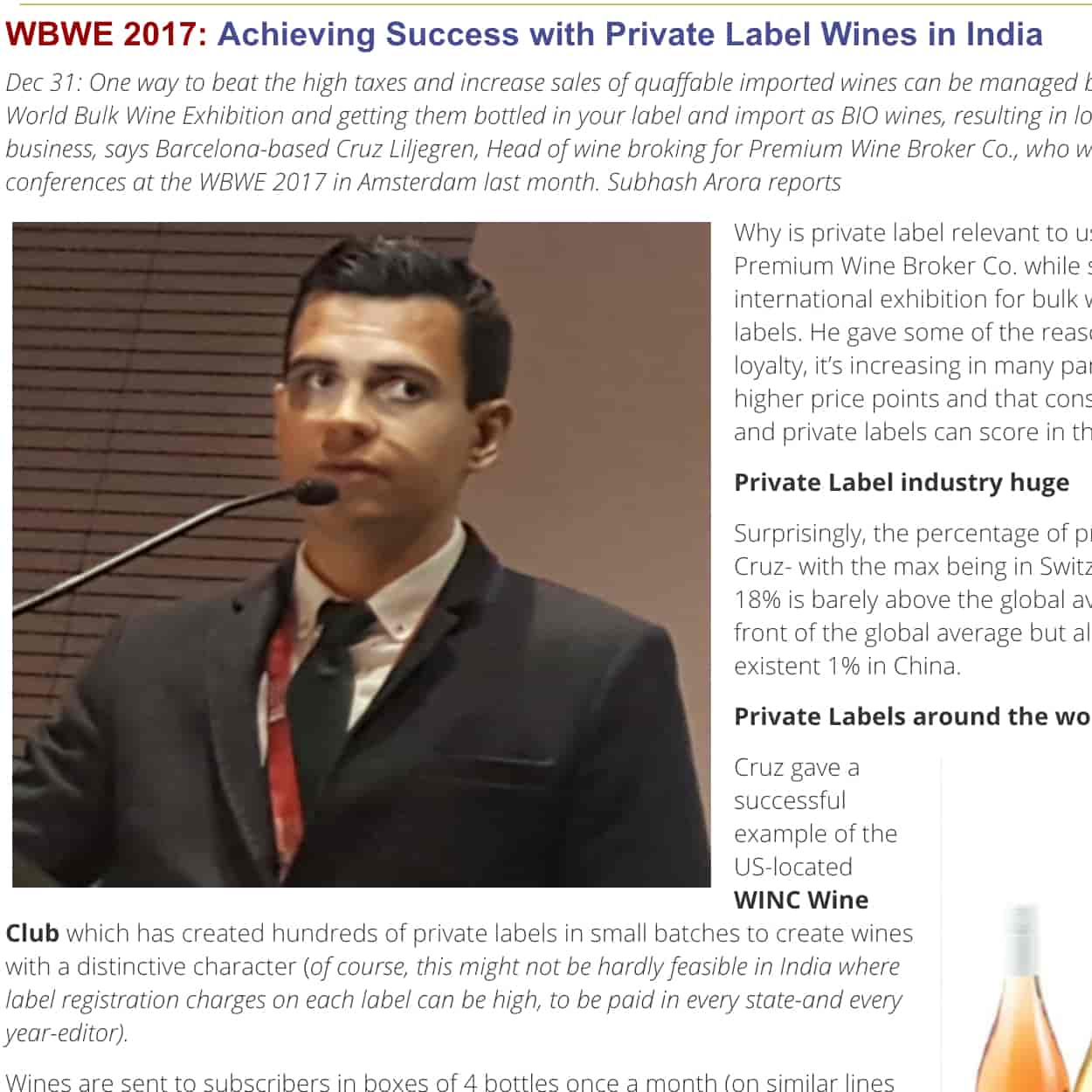 Our head of wine broking, Mr. Cruz Liljegren, in the Indian Wine Academy.
