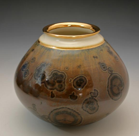 Keith Herbrand brown vase with gold lustre.jpg