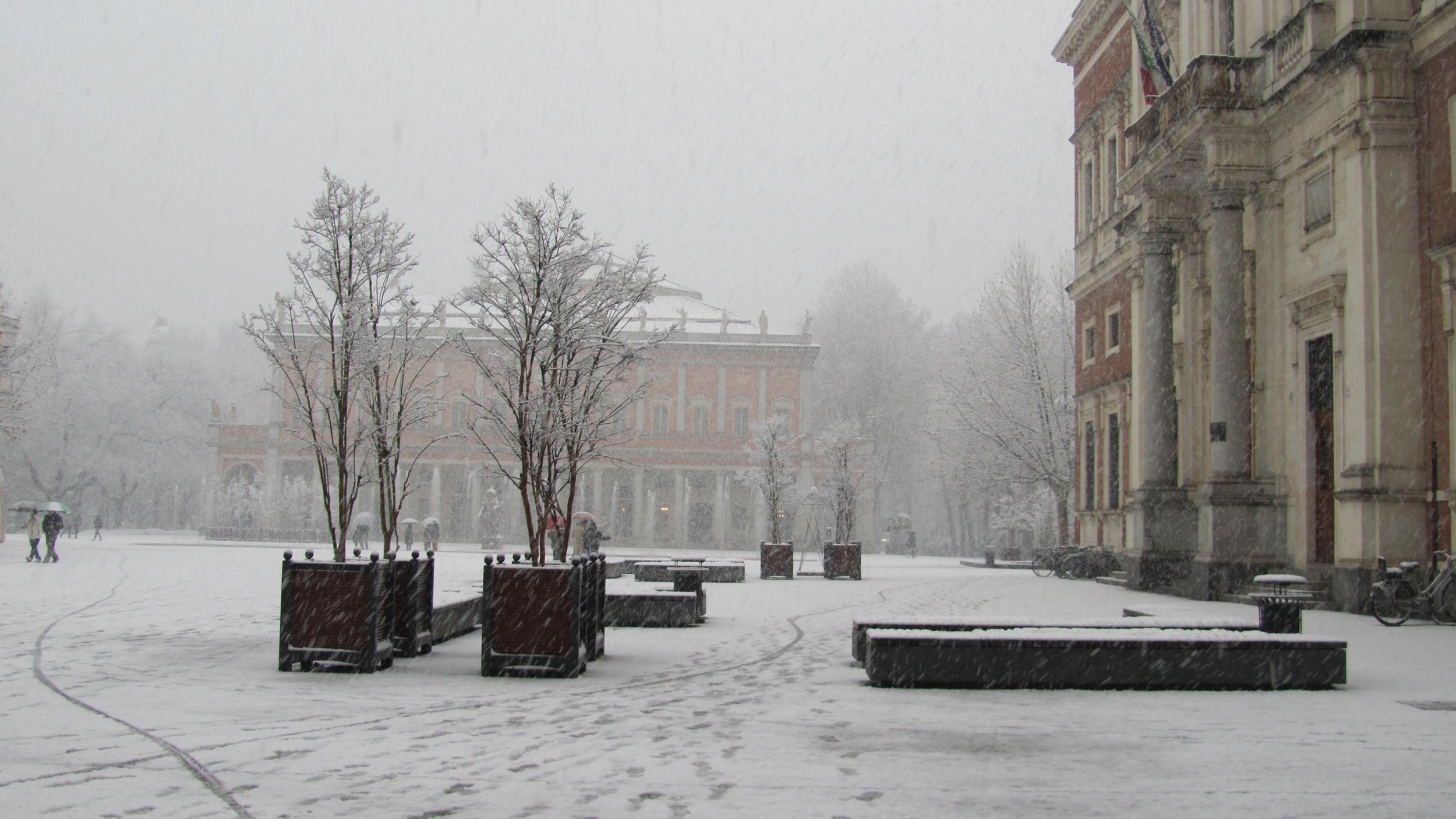 Reggio Emilia bajo la nieve.
