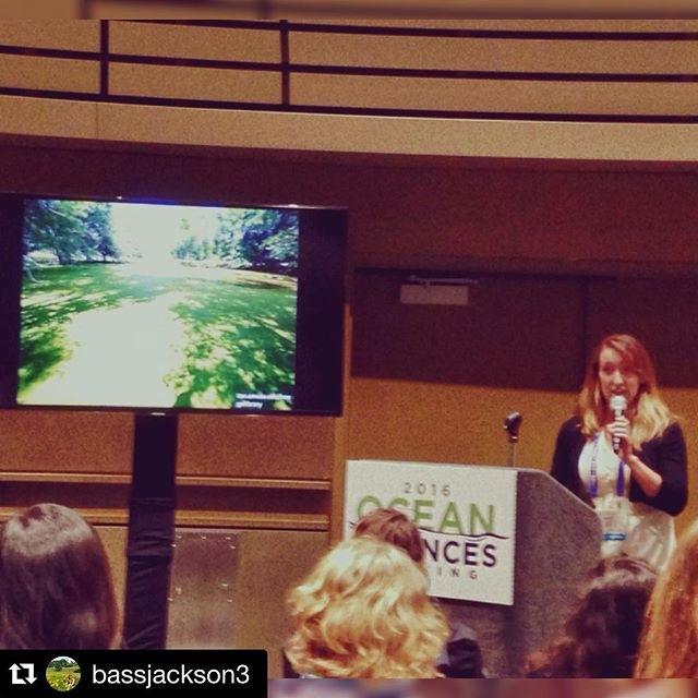 One of our students, Melanie Jackson, gave a wonderful presentation at the Ocean Sciences meeting!! @bassjackson3 ・・・ Survived my pop-up talk at The Ocean Sciences meeting 😎