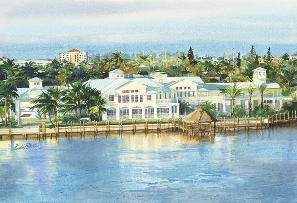 $1,600.00   Watercolor painting of the Marco Island Yacht in Marco Island, Florida