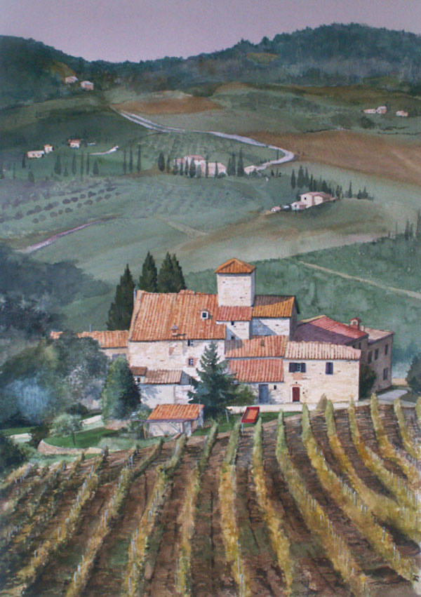 $3.600.00   Watercolor painting of villa in the Italian in the Chianti region of Tuscany