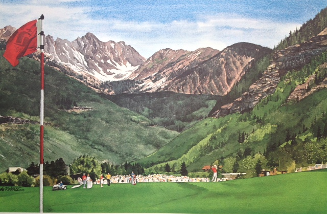 Jerry Ford Golf Invitational Watercolor by Linda Roberts