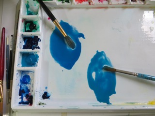 Watercolor cerulean blue & cobalt blue