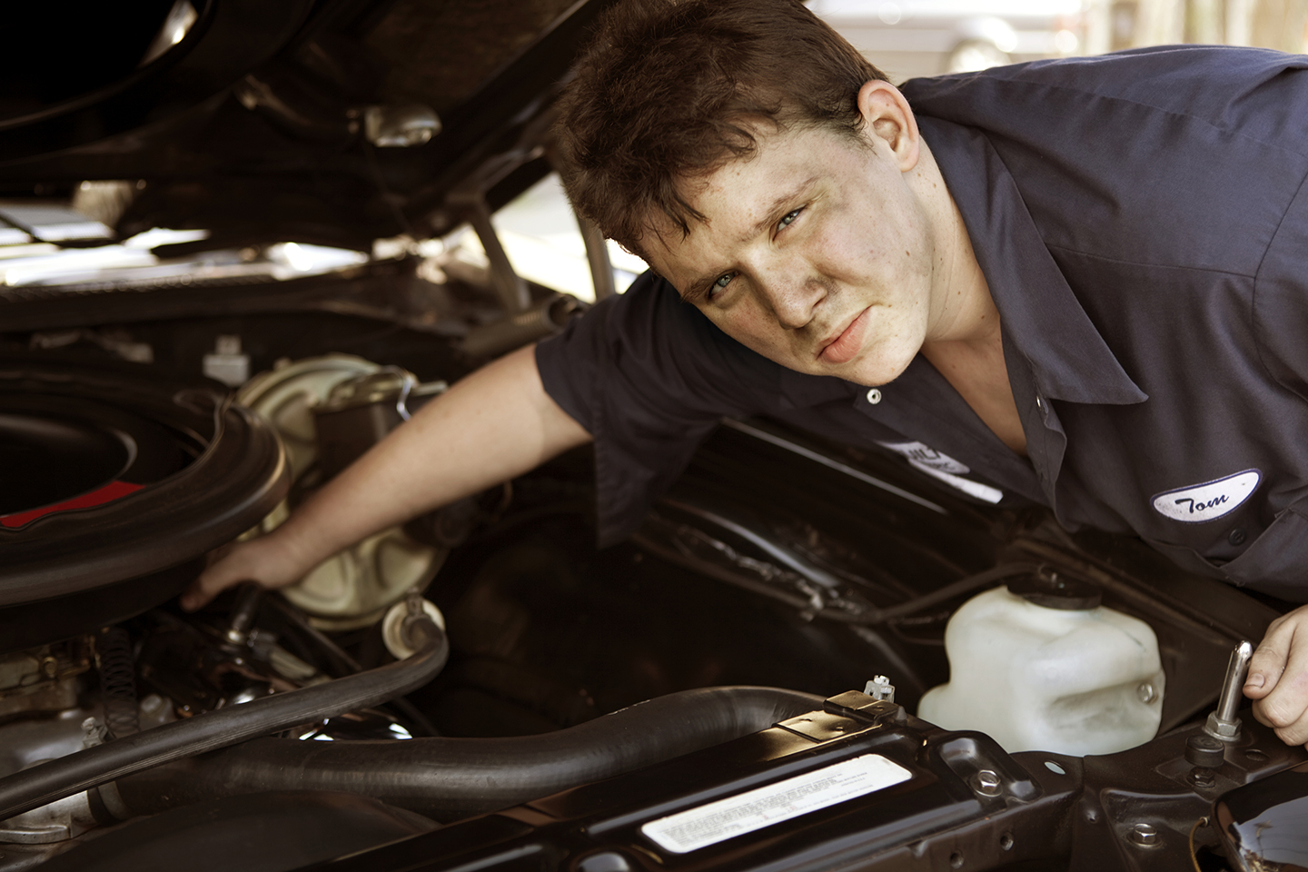 Chris, Looking Under The Hood of a 55' Chevy