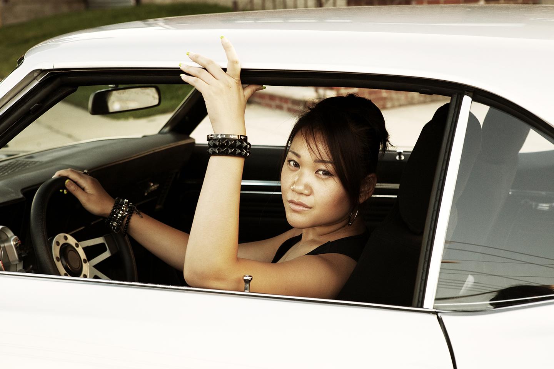 Kathie, Taking Drivers Seat in Richards 69' Camaro
