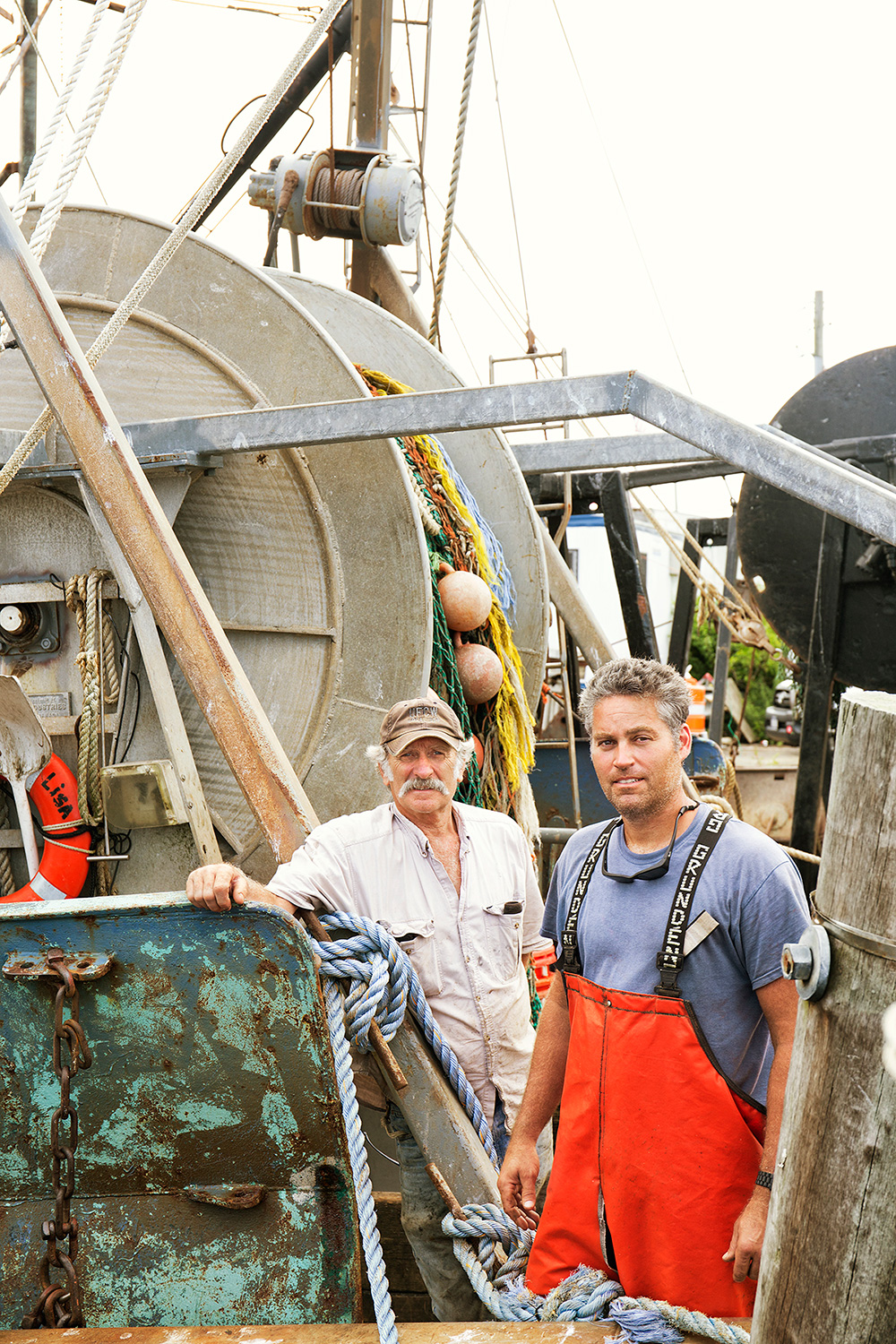 Bruce Beckwith and his son PJ Beckwith, Commercial Fishermen, Allison Lisa Boat, Town Dock