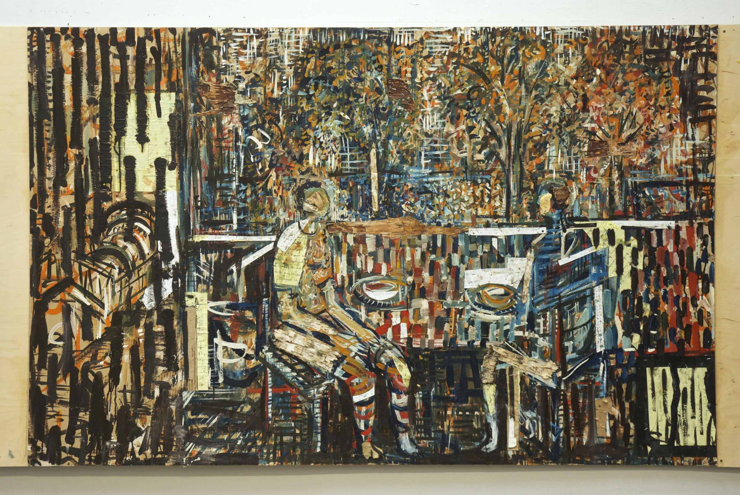 Lunch with Sarah , 2014, oil, bark and paper on cardboard on panel, 48x96 inches