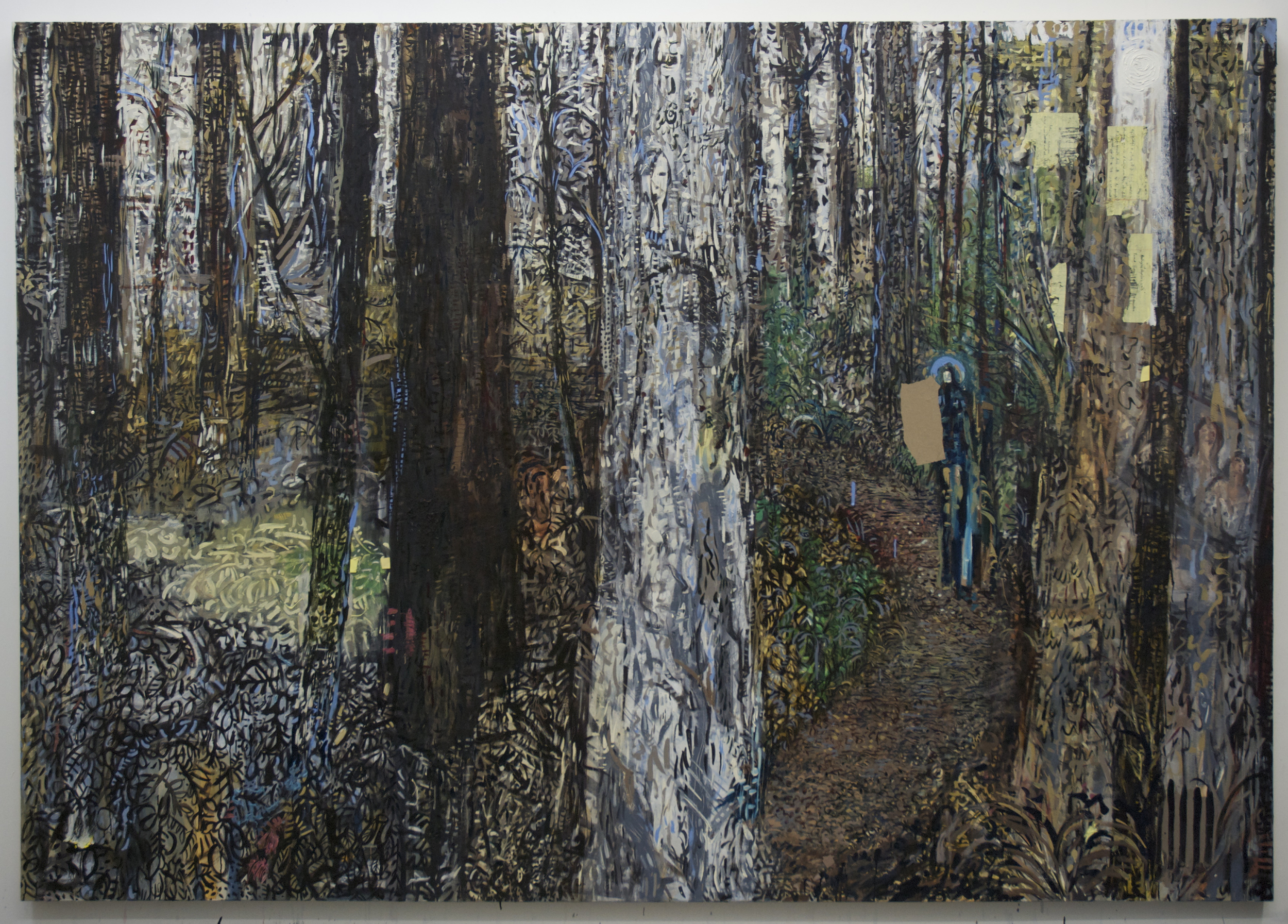 Charlie's Walk , 2014, oil and paper on canvas, 84x120 inches