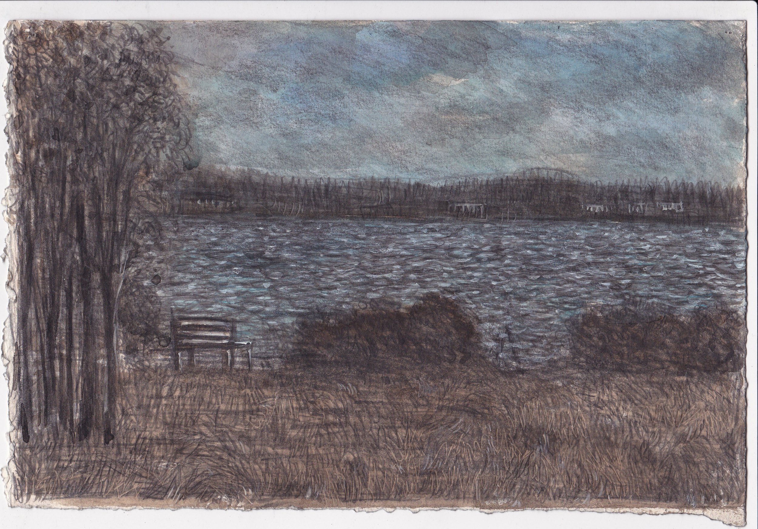 Landscape with Bench , 2013, graphite, and ink on paper, 7.5x11 inches