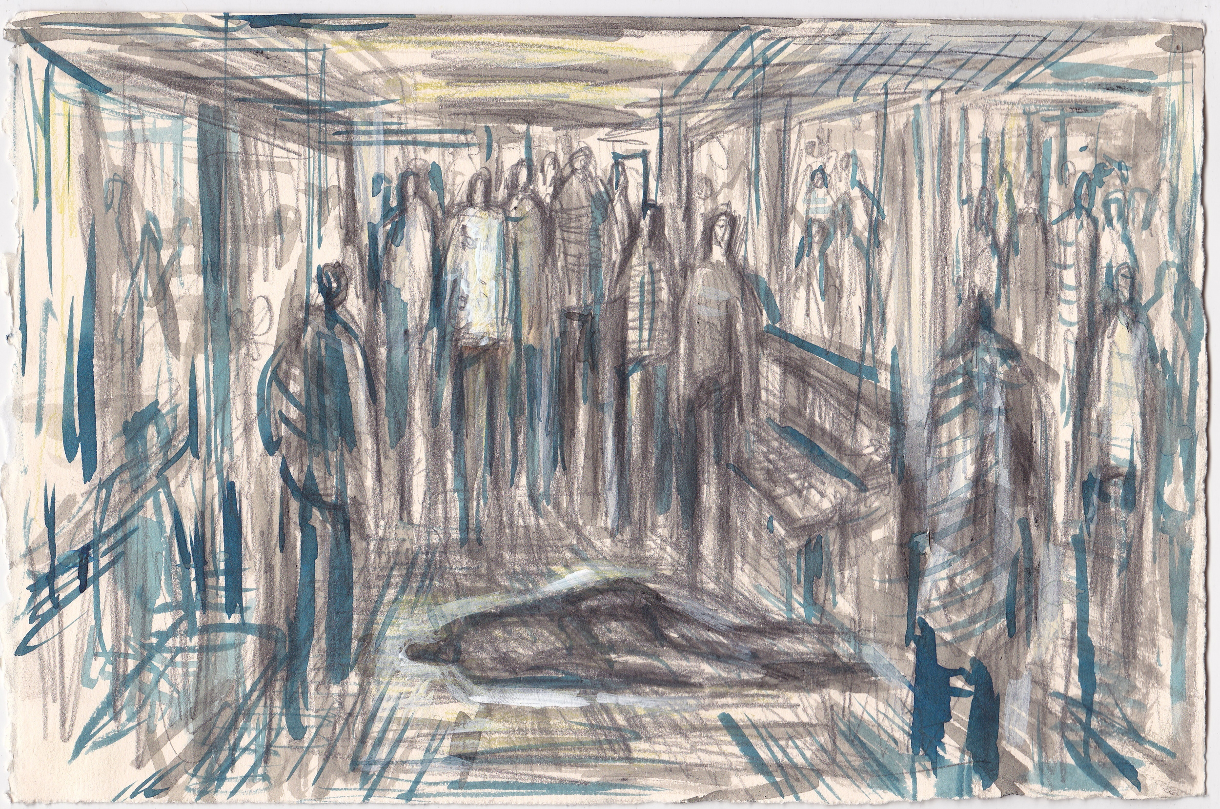 Augury of Death on the E Train , 2013, graphite, colored pencil and ink on paper, 7.5x11 inches