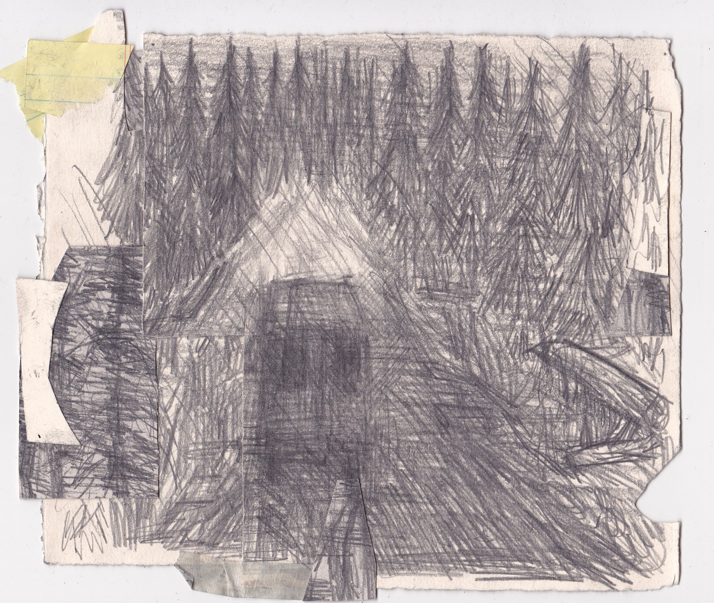 Driving Into the Emptiness, Augury of Lighting the Stove , 2013, graphite on paper, 7.5x9 inches