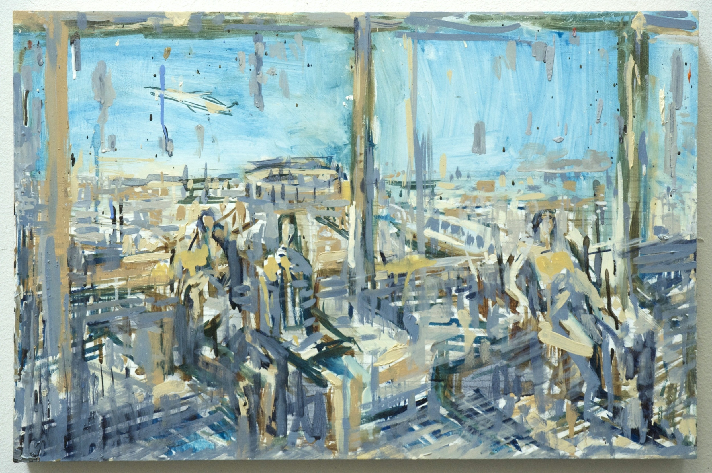 Waiting in the Rain in the JFK Airtrain , 2014, oil on panel, 15.75x24 inches