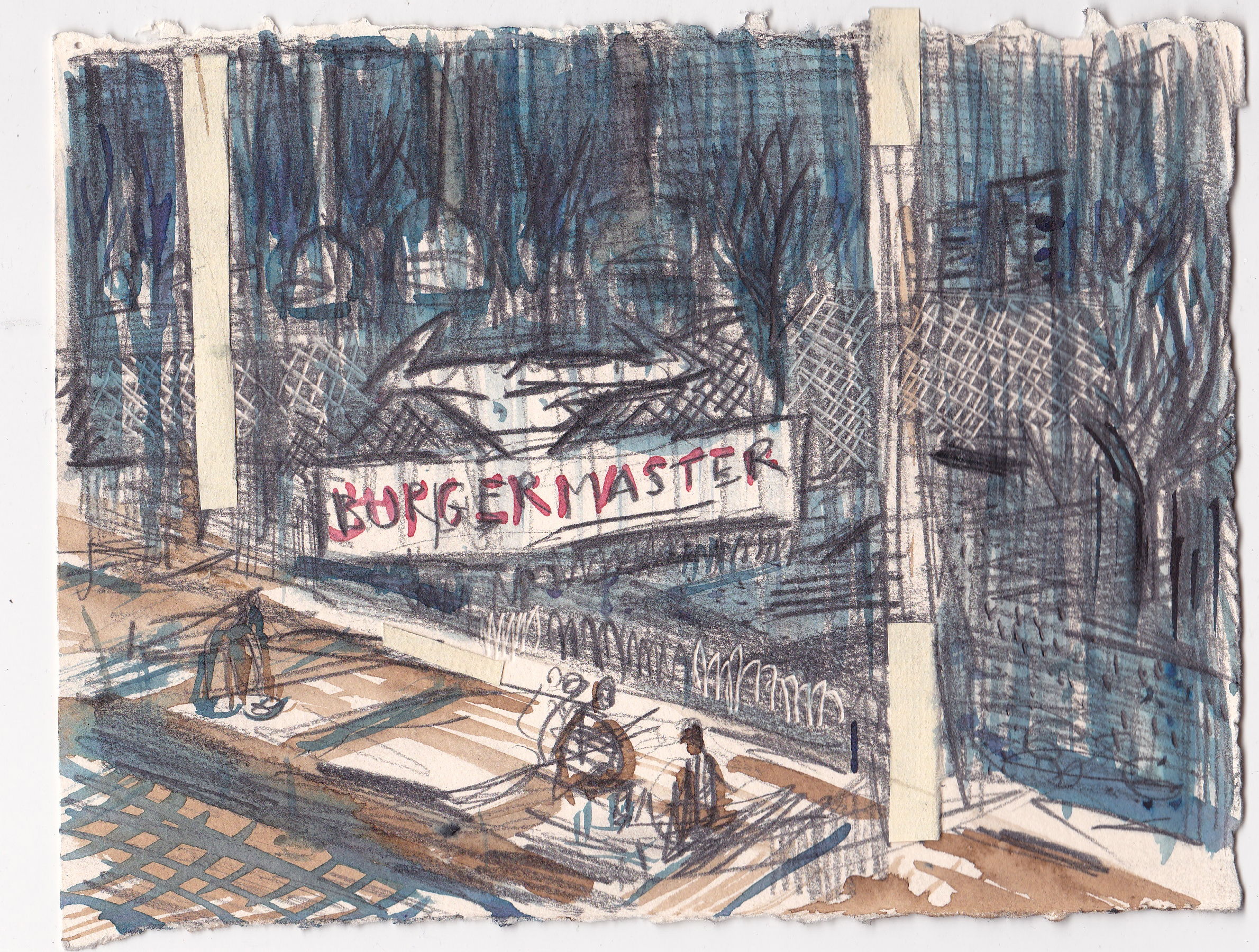 Burgermaster , 2014, graphite and ink on paper, 5.75x8.5 inches