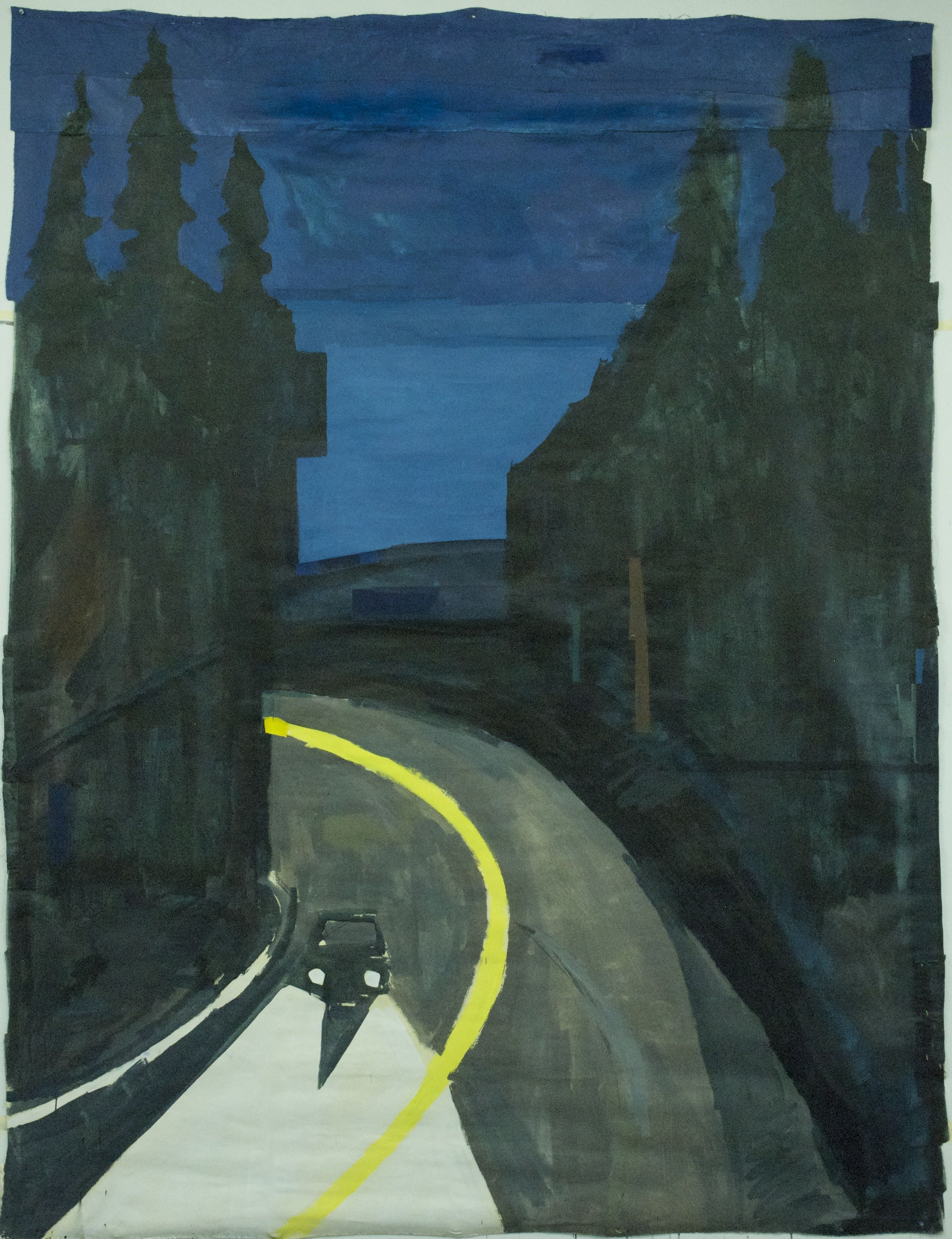 Night Drive on the Olympic Peninsula  , 2015, Acrylic and gouache on linen, 96x72 inches