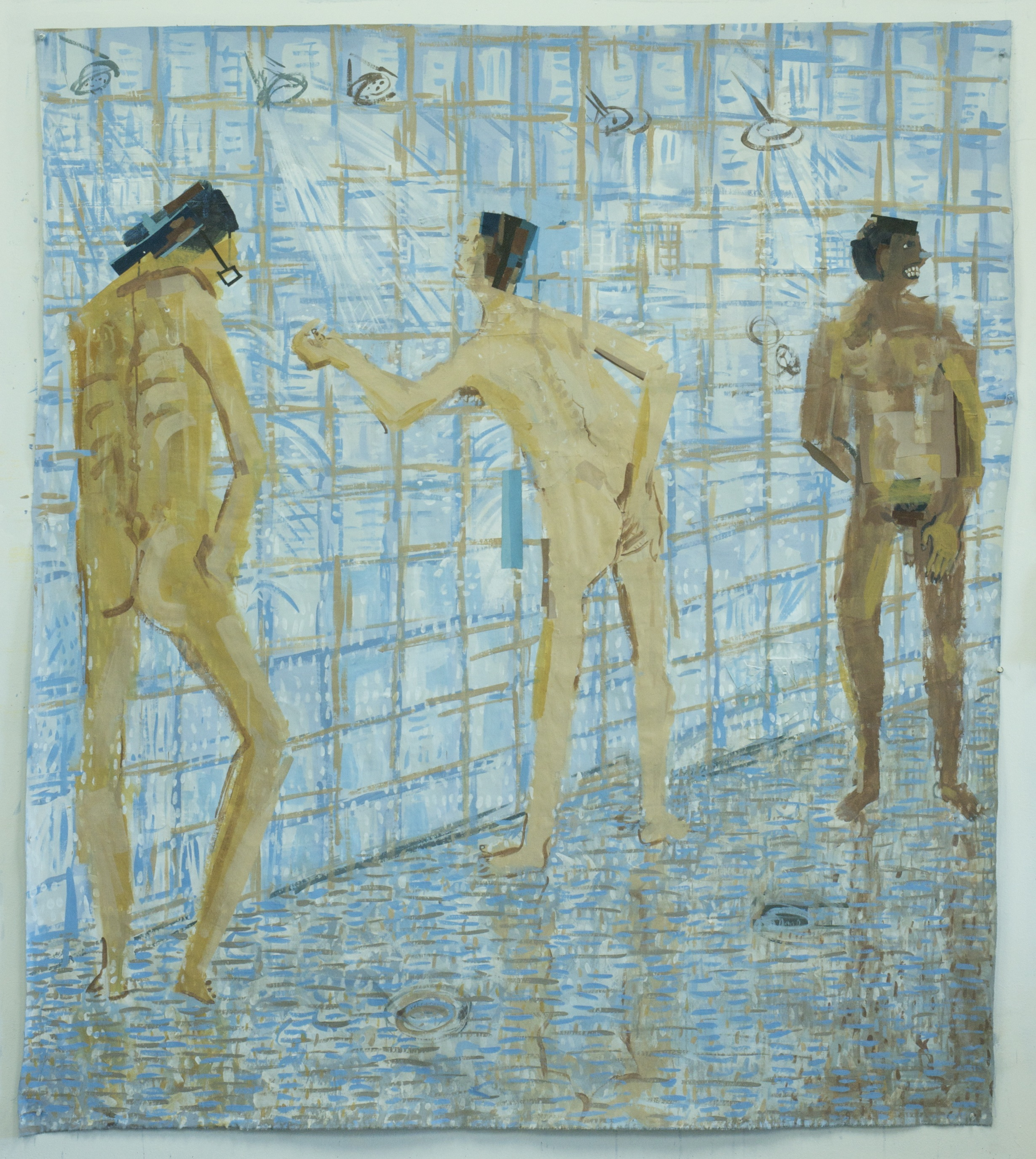 Men's Shower , 2016, Acrylic and gouache on linen, 72x63 inches