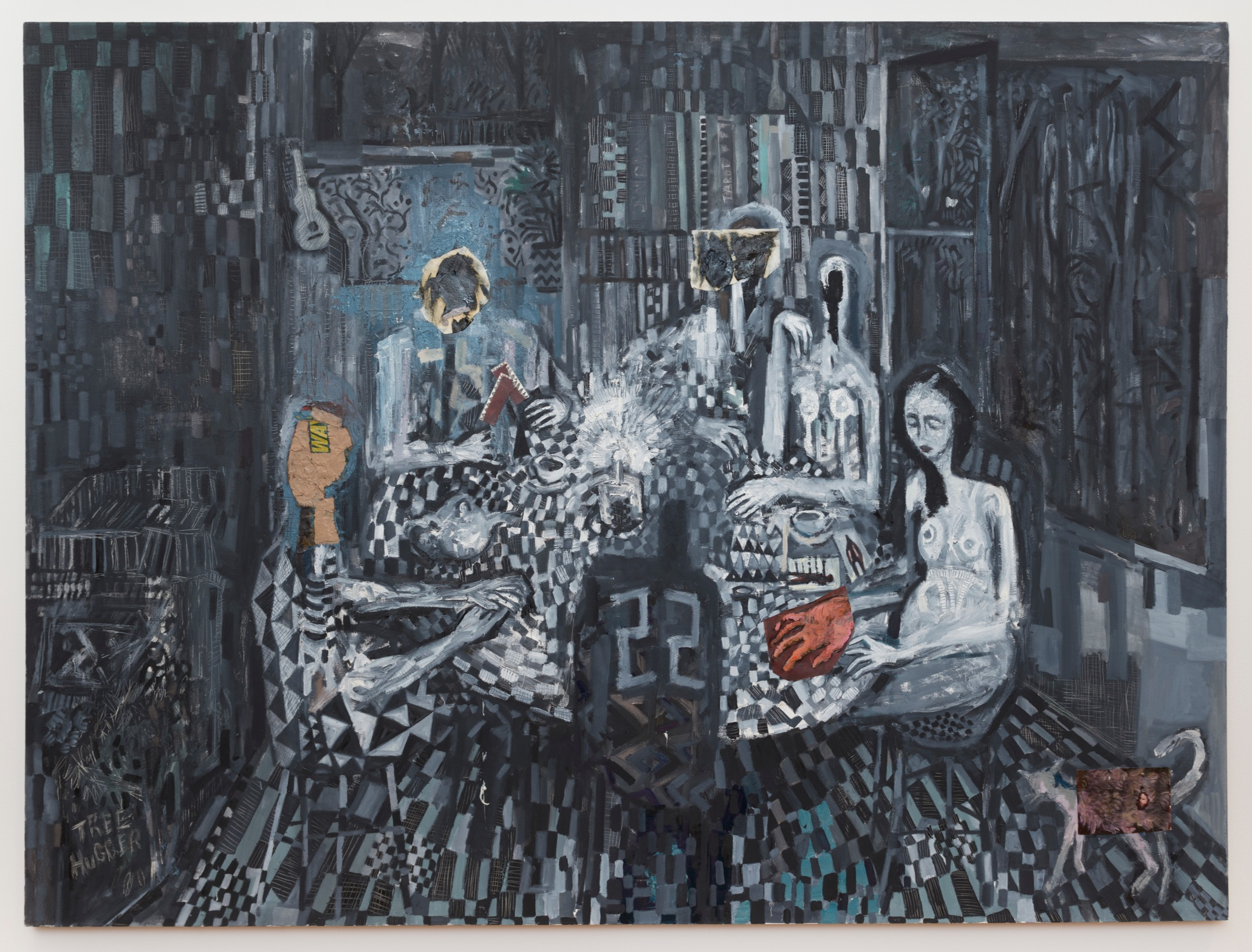 Tarot , 2012, oil and paper on canvas, 72x96 inches
