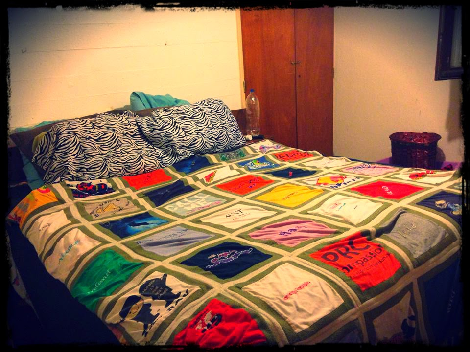 My most favorite blanket! My aunt made it out of my old t-shirts; t-shirts that I have gotten from around the world. I absolutely LOVE this blanket and plan on taking it with me wherever we go!