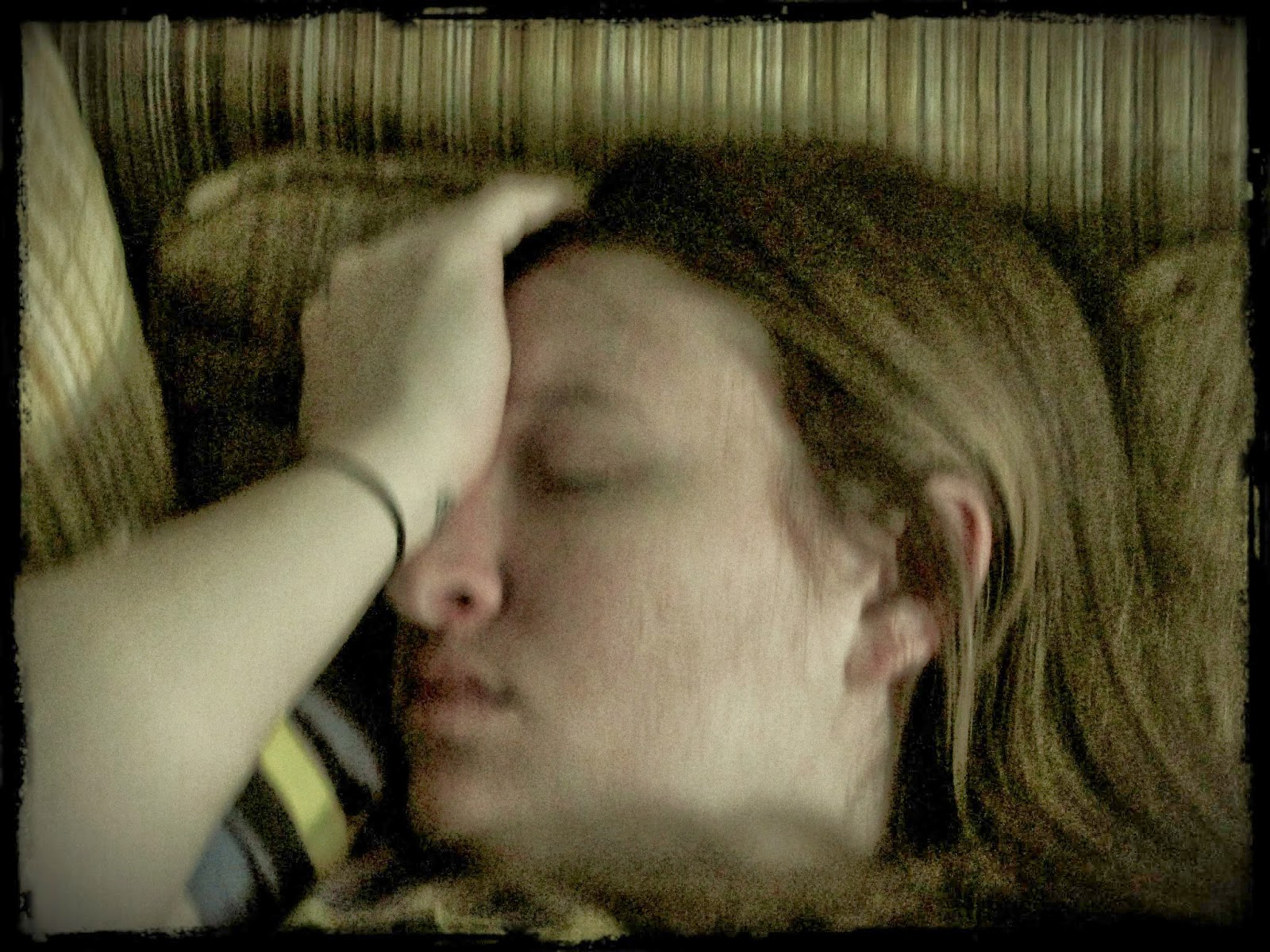 This is what happens when you doze off...your loving hubby takes a picture of you. How kind.