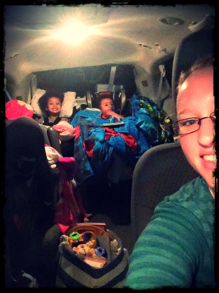 Starting out on our road trip. You can clearly see how excited the kids are! I had a bag of toys and snacks within reach, so that I could just toss things to toddlers as needed! And with one seat stowed underneath, there was plenty of room in the back for when diaper changes and potty breaks ;-)