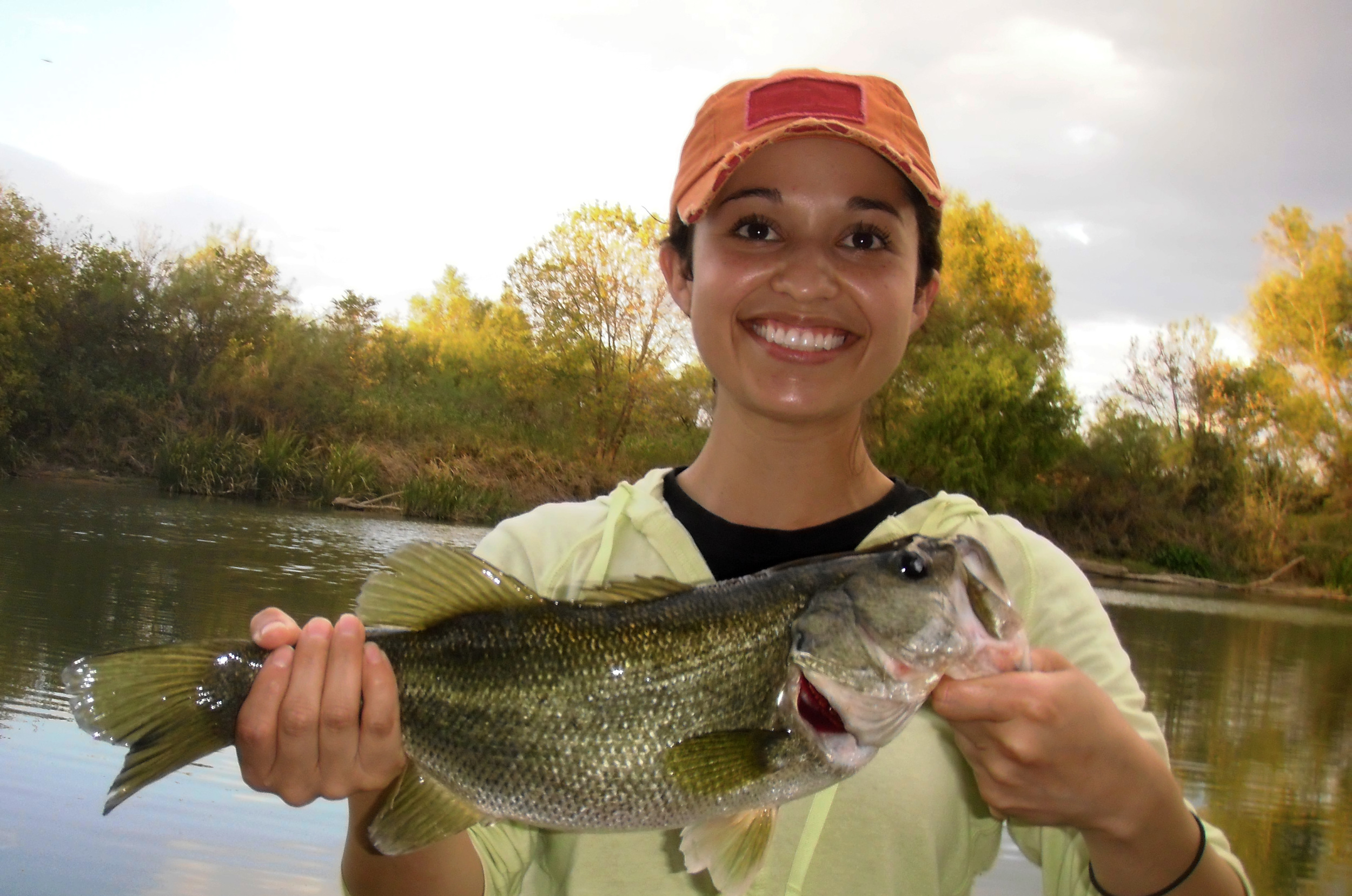 First time fly fisher Vanessa with a Colorado River bass