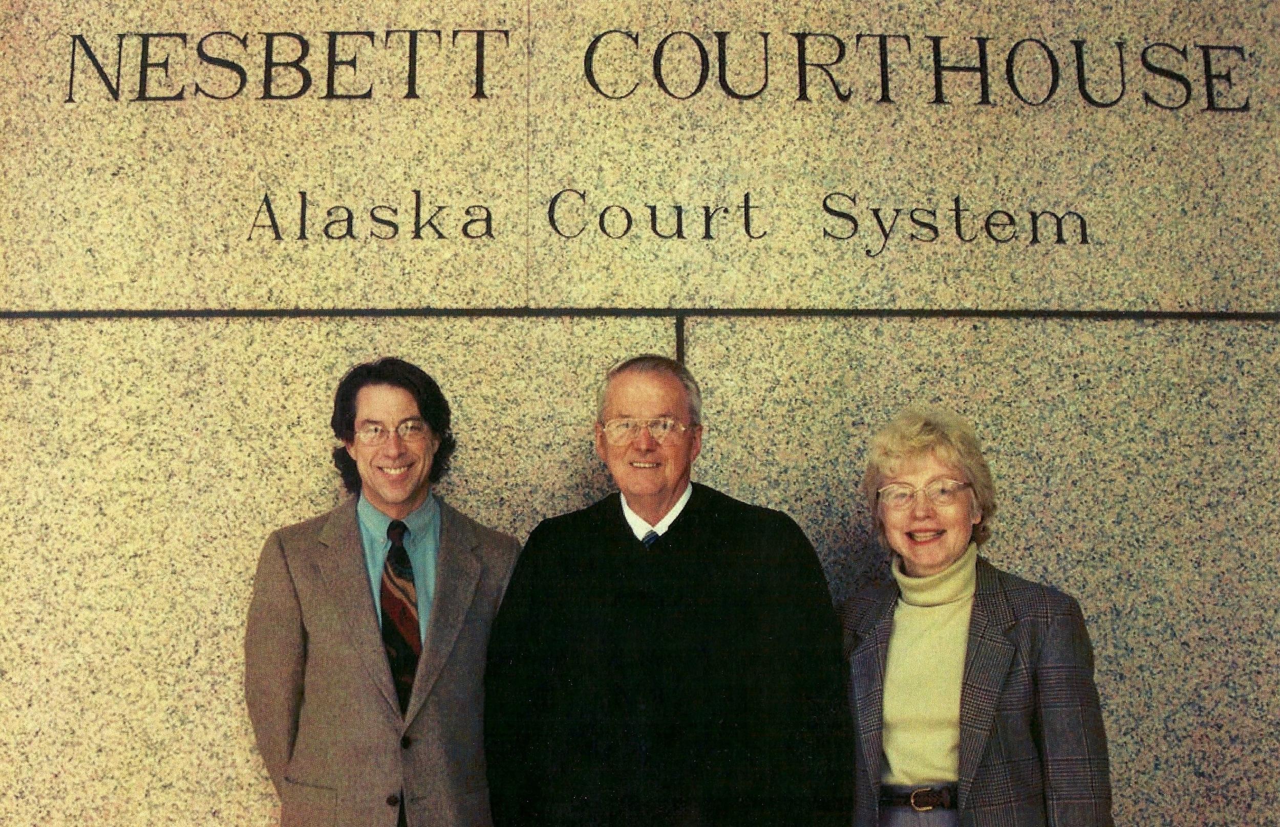 The three founders of the Anchorage Municipal Wellness Court, John Richard, Judge Jim Wanamaker and Janet McCabe.