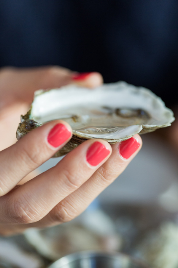 Closeup of shelled oyster