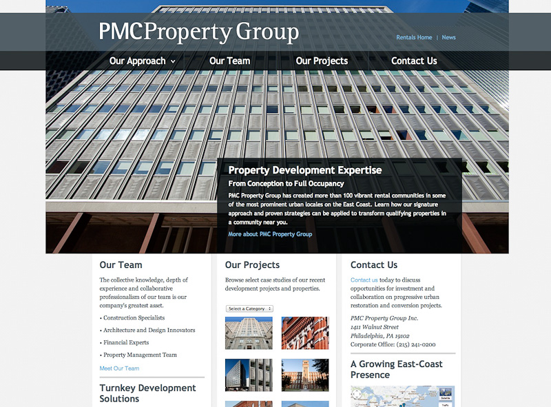 Screenshot of PMC corporate website showing 201 Stanwix in Pittsburgh, PA.