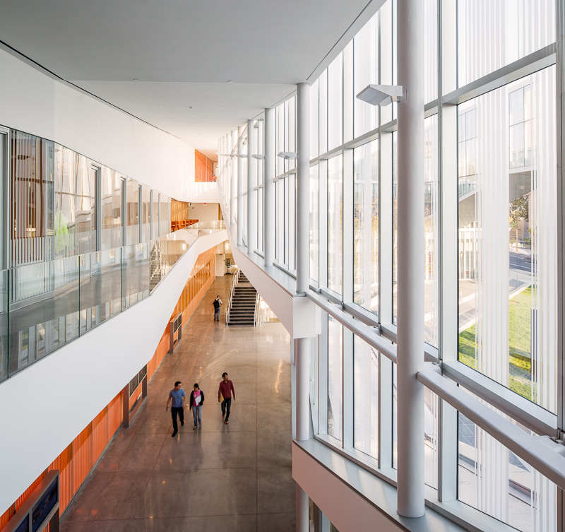 The open corridors encourage interaction.