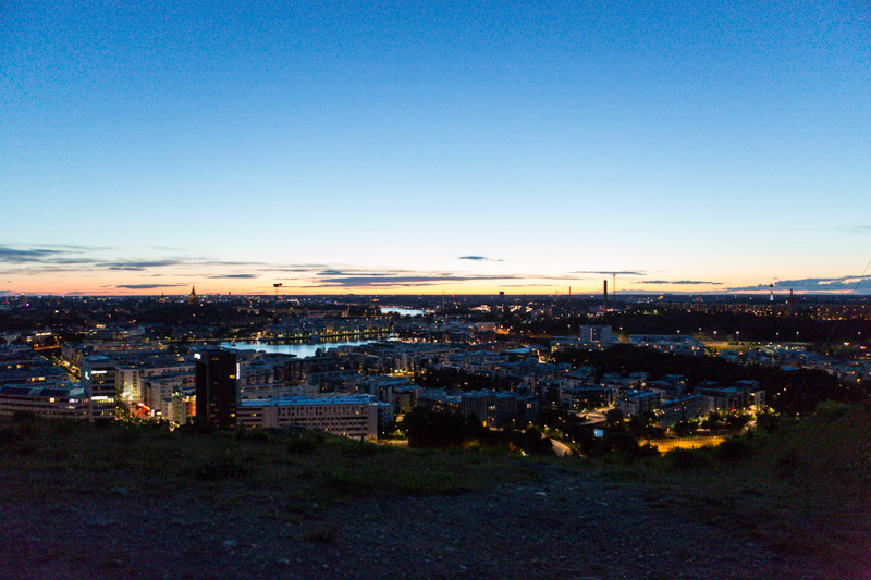 At midnight view of Stockholm from the south.