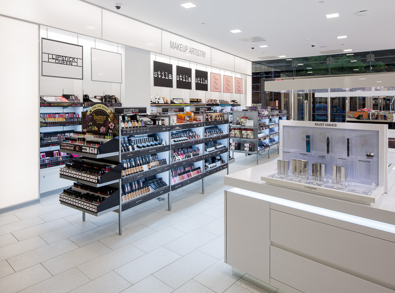 A clean-lined, tidy display of products entices customers to explore at Ulta Cosmetics in Philadelphia.