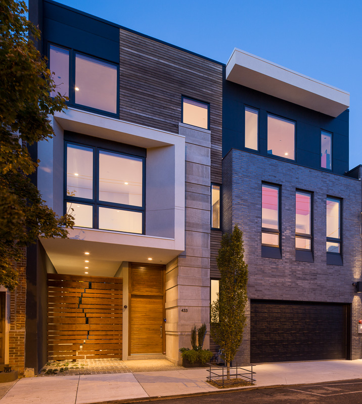 This town house's façade uses striking geometric shapes.