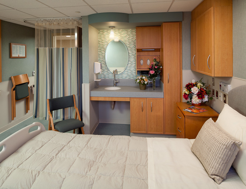 Calming colors and textures in the new facility at Morristown make hospital stays more comfortable.