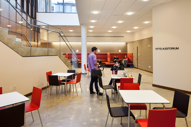 Located on the lower level of Golkin Hall, just outside the main auditorium, this open lounge area provides space for students to socialize between classes.