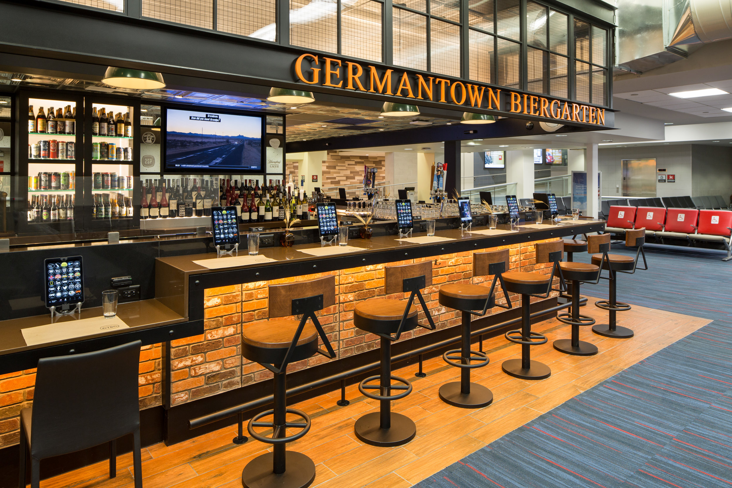 The aptly named Germantown Biergarten at Gate B9 – a true taste of Philly.
