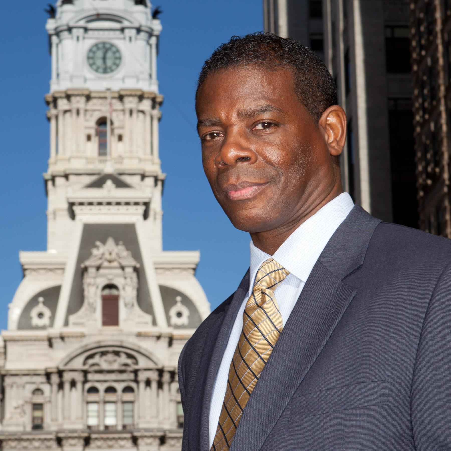 James Veal, Philadelphia City Hall behind him