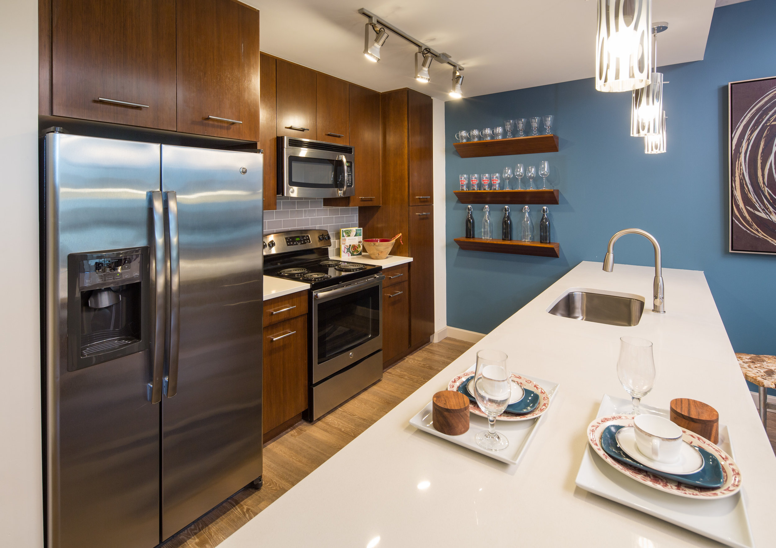 Kitchens at 3601 are big enough to satisfy anyone's inner Julia Child.