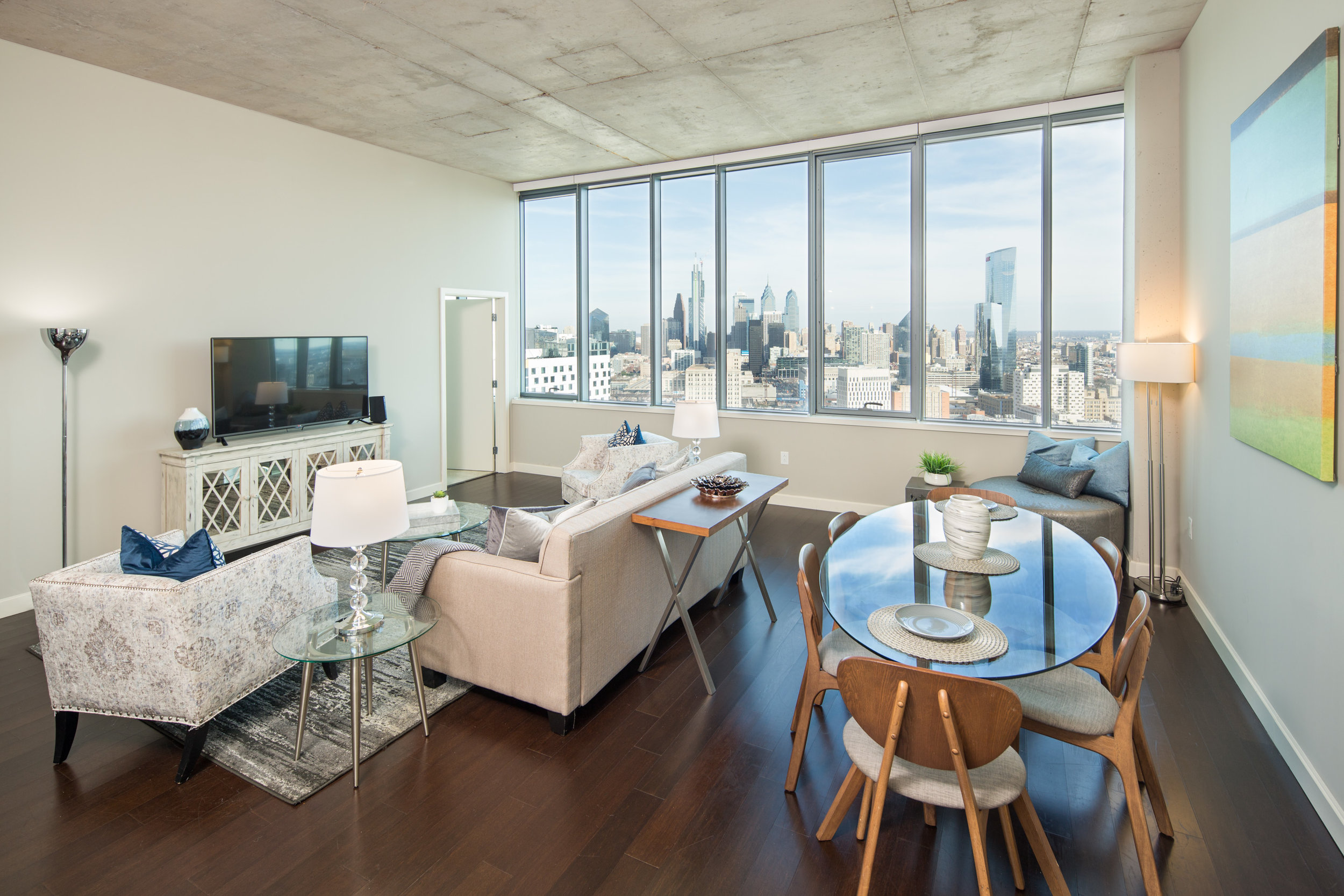 Panoramic views fill each apartment with light.