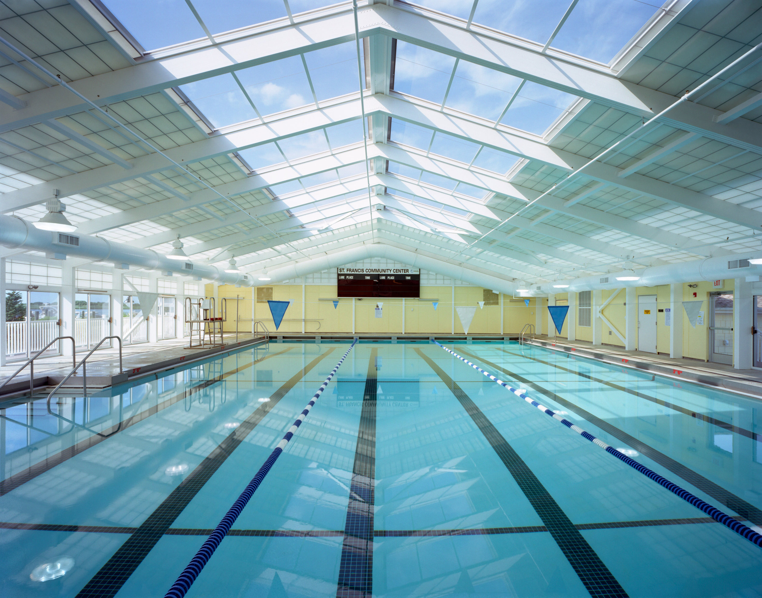 This indoor pool comes complete with sunroof.