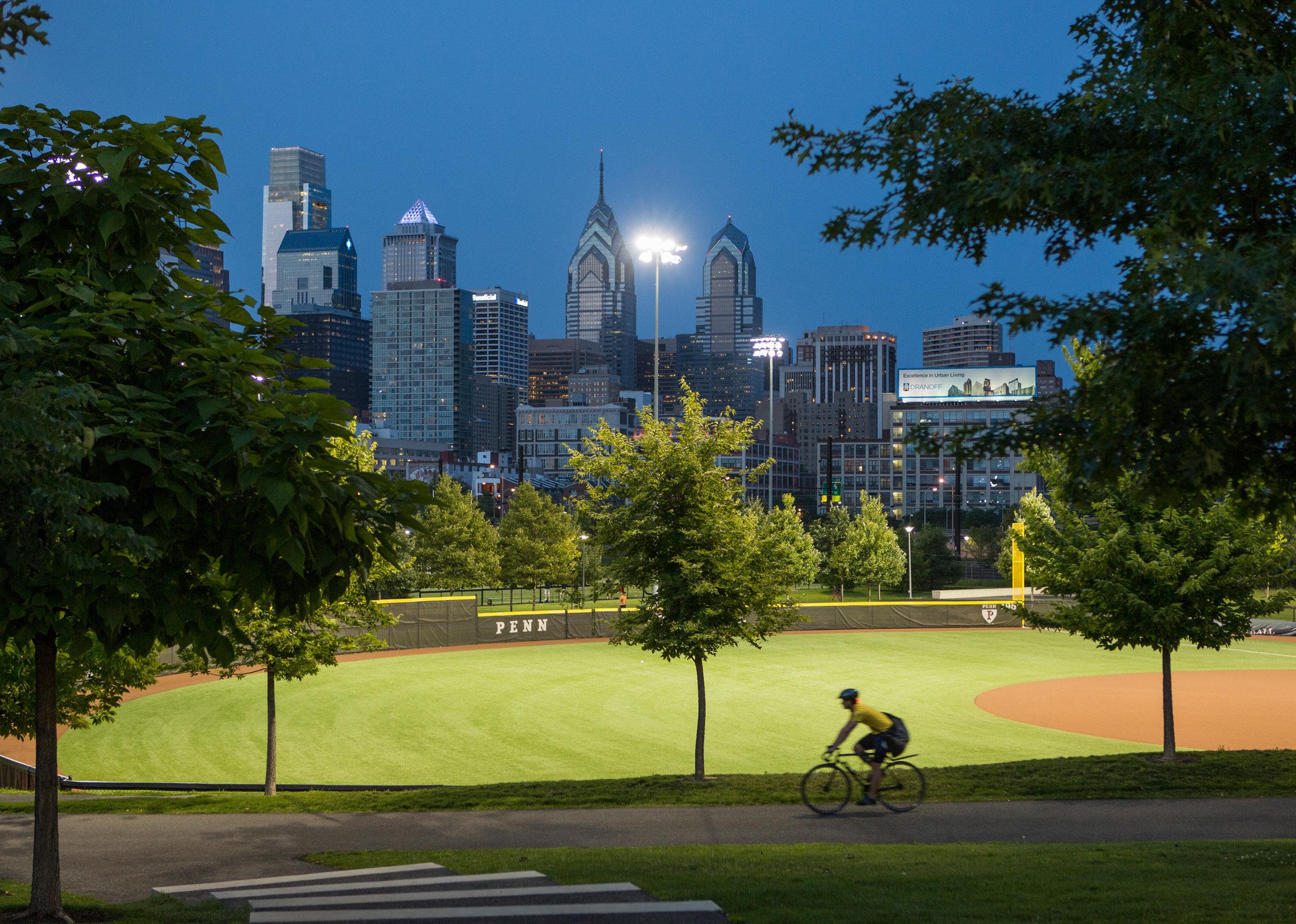 Penn Park via bicycle.